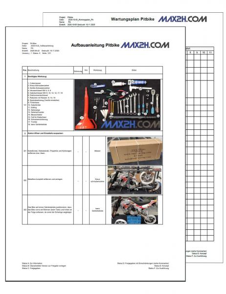 Pitbike Aufbauanleitung & Wartungsplan