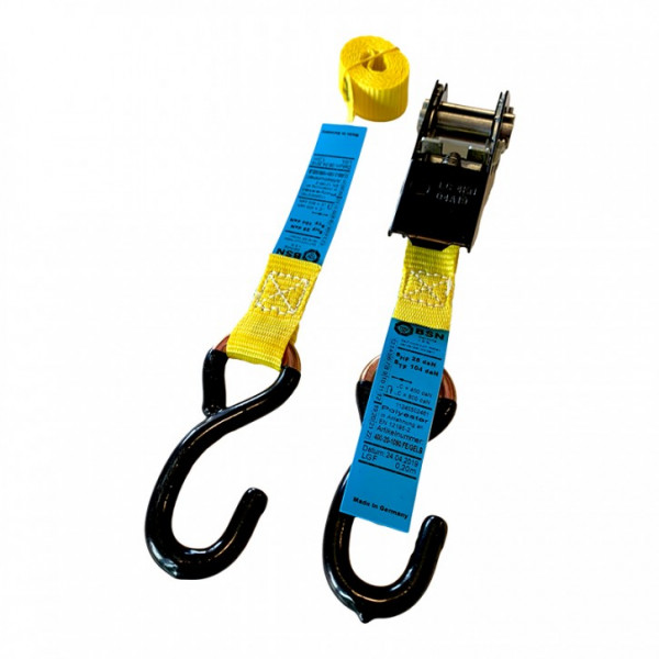 Hook tensioning strap with ratchet, 1.2 m, ideal for motorbike